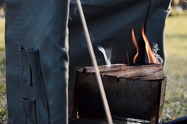 自作の焚火リフレクター