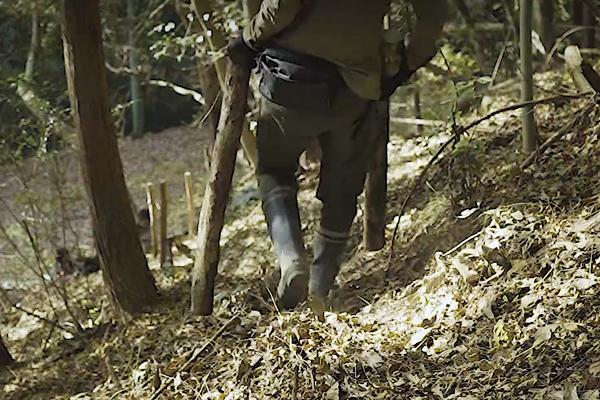歩きにくい山で木を運ぶ