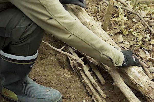 自然の材料で土留